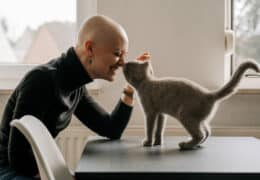 strong woman fighting breast cancer plays with cat at home